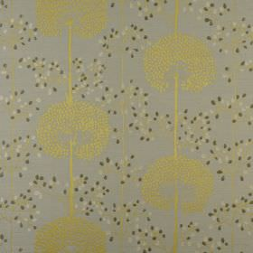 Moonseed - Chartreuse - Citrus coloured dandelions printed with forest green and cream coloured dots on grey polyester and cotton blend fabr