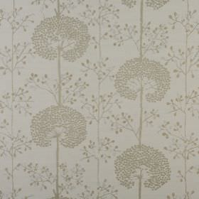 Moonseed - Praline - Fabric made from light grey coloured polyester and cotton, printed with rows of dark grey stylised dandelions and dots