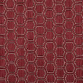 Avena - Cranberry - Hexagon patterned fabric made from cotton and polyester, featuring a grey-pink design on a claret background
