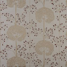 Moonseed - Cranberry - Polyester and cotton blend fabric made in beige, grey and dark red, with a repeated dandelion and dot pattern