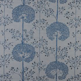 Moonseed - Bluebell - Royal blue dandelions with blue and black dots printed on a mid-grey polyester and cotton blend fabric background