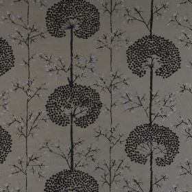 Moonseed - Sterling - Dandelion patterned fabric made from polyester and cotton featuring a design in black andtwo dark shades of grey