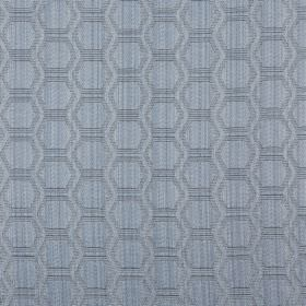 Avena - Bluebell - Cotton and polyester blend fabric covered with a repeated design of rows of hexagons in two shades of pale blue