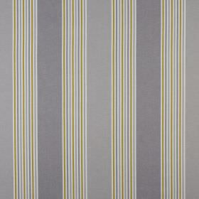 Elderberry - Mushroom - Grass green, iron grey, light grey and white striped fabric made from 100% cotton