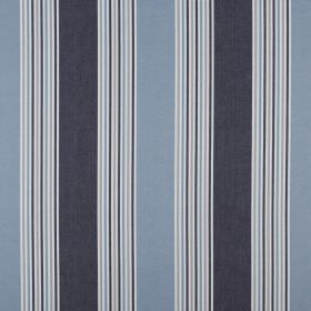Elderberry - Bluebell - Fabric made from 100% cotton with a repeated stripe design in white, dusky cobalt blue and dark denim blue
