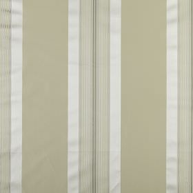 Indus - Champagne - Vertically striped cotton and silk blend fabric, featuring bands of beige, cream, grey and white