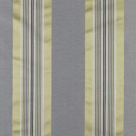 Indus - Luxe - Fabric made from cotton and silk with a vertical stripe design in iron grey, light gold, black and white