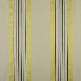 Indus - Saffron - Shiny citrus coloured stripes with light khaki and black stripes on fabric made from a combination of cotton and silk