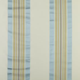 Indus - Azure - Light shades of blue, green and grey making up a striped fabric from cotton and silk which has a fresh, summery feel