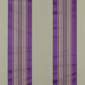 Indus - Cassis - Vivid Royal purple, violet and black stripes printed on a plain grey cotton and silk blend fabric background