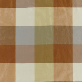 Bosforo - Copper - Copper, light gold, white and dusky blue stripes making up a simple checked pattern on 100% silk fabric