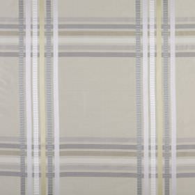 Kasmir - Champagne - Checked 100% silk fabric created by thin lines of white, cream and shades of grey running up and across a grey background