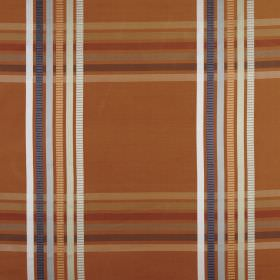 Kasmir - Copper - Dark orange coloured 100% silk fabric behind horizontal and vertical lines in white, orange, red, beige & shades of grey