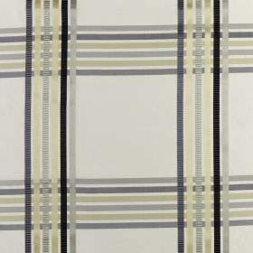 Kasmir - Luxe - Yellow, grey, green and black lines creating a simple check style pattern on white fabric made entirely from silk
