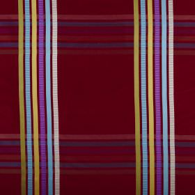 Kasmir - Ruby - Bright, multicoloured stripes set against a deep cherry coloured 100% silk fabric background, creating a checked design