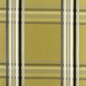 Kasmir - Saffron - Olive green coloured 100% silk fabric behind stripes in shades of white, black and grey, which create a checked pattern