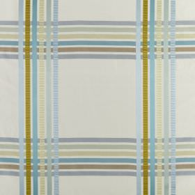 Kasmir - Azure - Pastel blue and green shades making up a simple checked design on a white background made from 100% silk