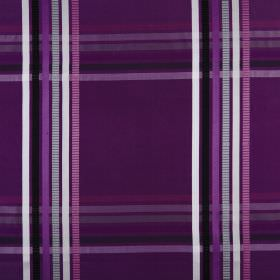 Kasmir - Cassis - Fabric made from checked 100% silk, coloured in various bright, vivid shades of purple, violet, black and white