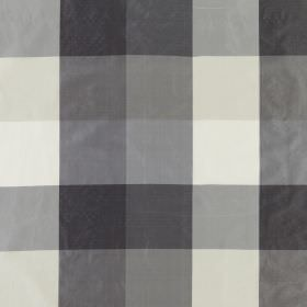 Bosforo - Luxe - 100% silk fabric featuring a simple checked design in white, pale grey and two similar shades of slate grey