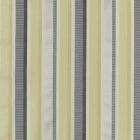 Myara - Saffron - Cotton and silk blend fabric patterned with simple vertical stripes in light yellow, light grey and mid grey