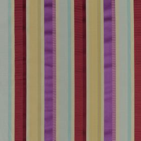 Myara - Jewel - Multicoloured striped fabric made from a mixture of cotton and silk in bright shades ofred, purple, gold and light blue