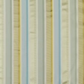 Myara - Azure - Fabric made from pastel blue and green coloured cotton and silk, featuring a simple design of regular vertical stripes