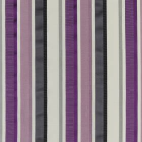 Myara - Cassis - Purple, lavender, graphite, pale grey and white coloured stripes running vertically down cotton and silk blend fabric