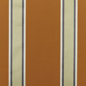 Samara - Copper - Fabric made from striped cotton and silk, with wide burnt orange bands, thin cream stripes and narrow grey & white lines