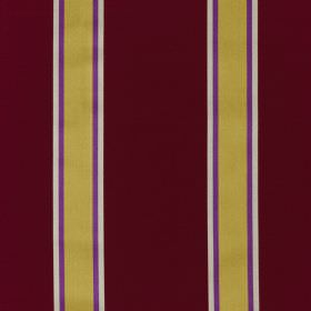 Samara - Ruby - Rich plum coloured fabric made from cotton and silk, striped with narrower bands ofwhite, violet and yellow-gold