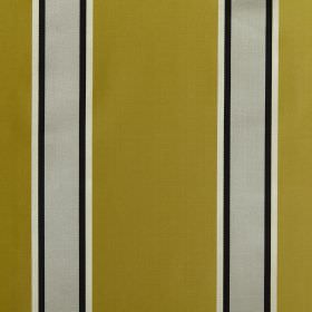 Samara - Saffron - White, black and light grey stripes printed on a gold coloured fabric background made from cotton and silk