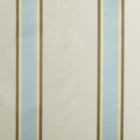 Samara - Azure - Cotton and silk blend fabric made in pastel shades of blue, yellow, brown and grey with a simple vertical striped design