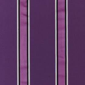Samara - Cassis - Royal purple, violet, black and white striped fabric made from a combination of cotton and silk