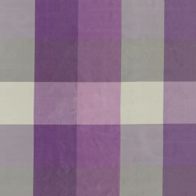 Bosforo - Cassis - 100% silk fabric covered with bright violet, pale lavender, light grey and off-whitechecks