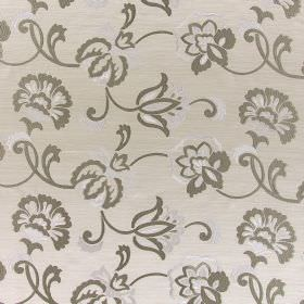 Novara - Champagne - Bright white and dark grey flowers and swirls embroidered on off-white coloured hard wearing fabric