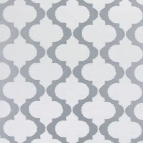 Messina - Pearl - Grey and white hard wearing fabric featuring a design of vertical, wavy lines which have small, pointed spikes on them
