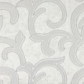 Salerno - Pearl - Hard wearing fabric featuring a design of large, leafy swirls edged with small dots all in shades of pale grey and white