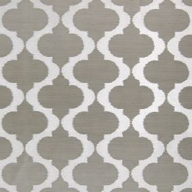 Messina - Fawn - Light grey hard wearing fabric patterned with spiked wavy lines in white