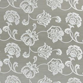 Novara - Fawn - White and very pale grey flowers and swirls embroidered on a grey hard wearing fabric background