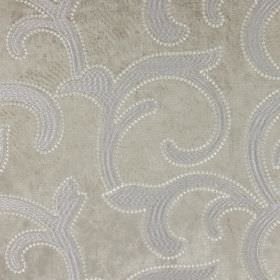 Salerno - Fawn - Silver hard wearing fabric, patterned with large white swirls which are slightly leafy in design
