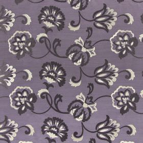 Novara - Heather - Embroidered purple and white swirls and flowers against lilac coloured hard wearing fabric