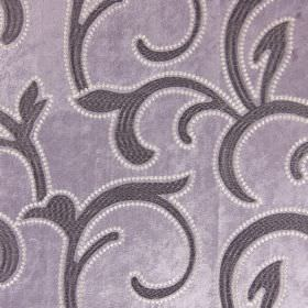 Salerno - Heather - A purple leafy swirl design outlined with white dots, on a matching purple hard wearing fabric background