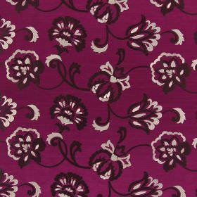 Novara - Magenta - Magenta coloured hard wearing fabric, embroidered with very dark brown and white coloured flowers and swirls