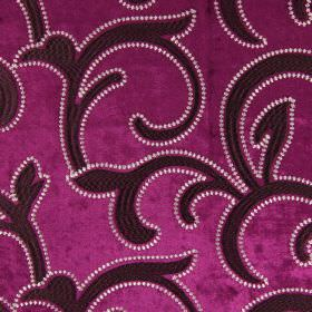 Salerno - Magenta - Large, leafy swirls in dark purple, edged with white dots, upon a background of rich purple coloured hard wearing fabric