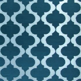 Messina - Teal - Hard wearing fabric in white-grey and turquoise, with a pattern of vertical, wavy, spiked lines