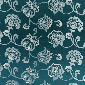 Novara - Teal - Light grey and cream coloured embroidered flowers and swirls on a background of turquoise fabric which is hard wearing