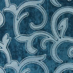 Salerno - Teal - Large grey swirls embroidered on a shimmering aquamarine coloured hard wearing fabric, with an edging of white dots
