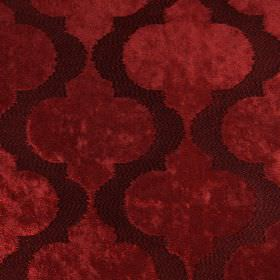 Odyssey - Regal - Wavy, spiked lines on hard wearing fabric which is very slightly textured, in two similar shades of dark red