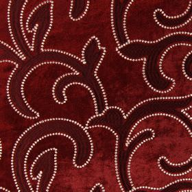 Salerno - Regal - Deep red coloured hard wearing fabric, with small white dots surrounding a dark red leafy swirl design