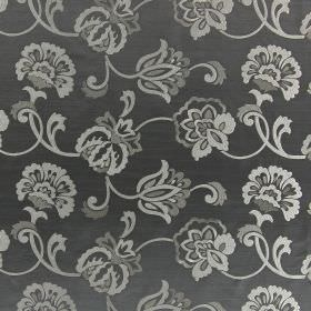 Novara - Moleskin - Light blue-grey coloured fabric which is hard wearing, embroidered with a pattern of swirls & flowers in beige and white