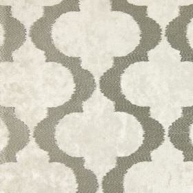 Odyssey - Champagne - White hard wearing fabric mottled with brown, beneath a pattern of vertical dark grey-green wavy lines